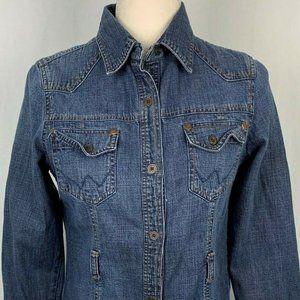 Wrangler Denim Shirt S Button Front Cotton